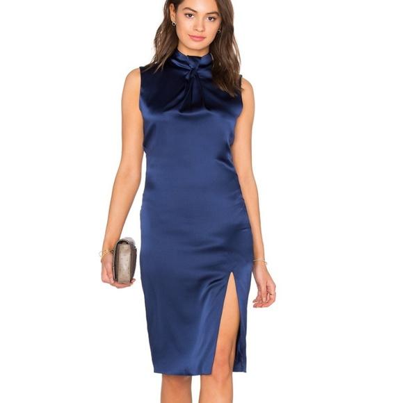 d8d422e24c53 Olcay Gulsen Navy Silk Tie Dress